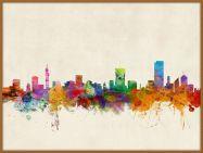 Large Pretoria South Africa Watercolour Skyline (Pinboard & wood frame - Teak)
