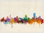Large Pretoria South Africa Watercolour Skyline (Wood Frame - White)