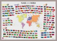 Primary Flags of the World poster (Pinboard & framed - Silver)