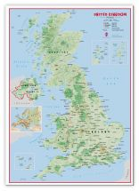 Large Primary UK Wall Map Physical (Canvas)