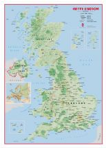Large Primary UK Wall Map Physical (Wood Frame - White)