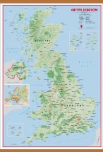 Large Primary UK Wall Map Physical (Wooden hanging bars)