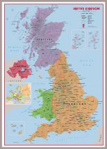 Huge Primary UK Wall Map Political (Pinboard & framed - Silver)