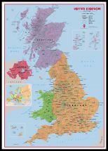 Huge Primary UK Wall Map Political (Pinboard & framed - Black)