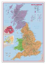 Large Primary UK Wall Map Political (Canvas)