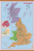 Large Primary UK Wall Map Political (Wooden hanging bars)