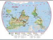 Huge Primary Upside Down World Wall Map Environmental (Hanging bars)