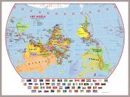 Large Primary Upside Down World Wall Map Political with flags (Pinboard & framed - Silver)