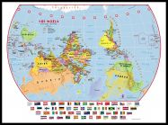 Large Primary Upside Down World Wall Map Political with flags (Pinboard & framed - Black)