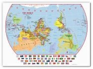 Large Primary Upside Down World Wall Map Political with flags (Canvas)