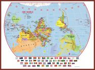 Large Primary Upside Down World Wall Map Political with flags (Pinboard & framed - Dark Oak)