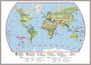 Large Primary World Wall Map Environmental (Pinboard & framed - Silver)