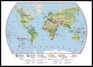 Large Primary World Wall Map Environmental (Pinboard & framed - Black)