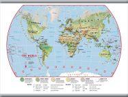 Medium Primary World Wall Map Environmental (Hanging bars)