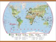 Huge Primary World Wall Map Environmental (Wooden hanging bars)