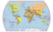 Primary World Wall Map Political