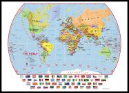 Huge Primary World Wall Map Political with flags (Pinboard & framed - Black)
