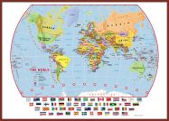 Huge Primary World Wall Map Political with flags (Pinboard & framed - Dark Oak)