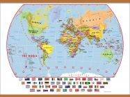 Huge Primary World Wall Map Political with flags (Wooden hanging bars)