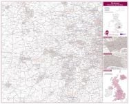 Reading Postcode Sector Map (Magnetic board and frame)