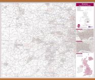 Reading Postcode Sector Map (Wooden hanging bars)