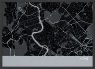 A3 Rome City Street Map Print Charcoal (Wood Frame - Black)