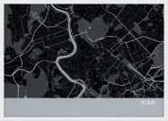 A3 Rome City Street Map Print Charcoal (Wood Frame - White)