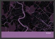 A3 Rome City Street Map Print Mauve (Wood Frame - Black)