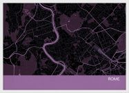 A3 Rome City Street Map Print Mauve (Wood Frame - White)