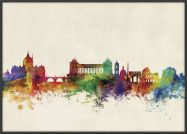 Large Rome Watercolour Skyline (Pinboard & wood frame - Black)