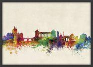 Medium Rome Watercolour Skyline (Pinboard & wood frame - Black)