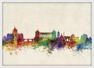 Medium Rome Watercolour Skyline (Wood Frame - White)
