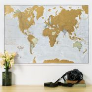 Scratch the World® - French Language (Pinboard & wood frame - Black)