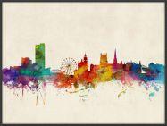Large Sheffield England Watercolour Skyline (Pinboard & wood frame - Black)