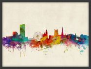 Medium Sheffield England Watercolour Skyline (Pinboard & wood frame - Black)