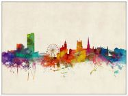 Large Sheffield England Watercolour Skyline (Wood Frame - White)
