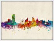Medium Sheffield England Watercolour Skyline (Pinboard & wood frame - White)