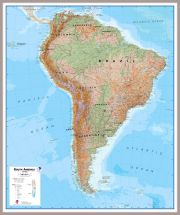 Large South America Wall Map Physical (Pinboard & framed - Silver)