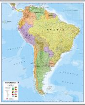Huge South America Wall Map Political (Hanging bars)