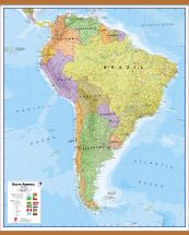 Huge South America Wall Map Political (Wooden hanging bars)