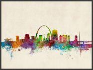 Large St Louis Missouri Watercolour Skyline (Pinboard & wood frame - Black)