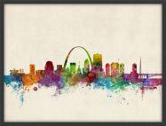 Medium St Louis Missouri Watercolour Skyline (Pinboard & wood frame - Black)