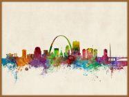Large St Louis Missouri Watercolour Skyline (Pinboard & wood frame - Teak)
