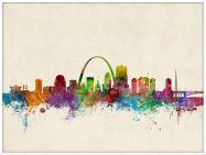 Large St Louis Missouri Watercolour Skyline (Pinboard & wood frame - White)