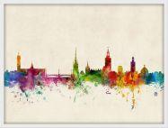 Medium Stockholm Sweden Watercolour Skyline (Wood Frame - White)