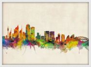 Medium Sydney City Skyline (Pinboard & wood frame - White)