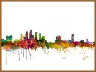 Large Tampa Watercolour Skyline (Pinboard & wood frame - Teak)