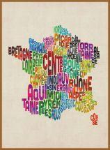 Large Text Art Map of France (Pinboard & wood frame - Teak)