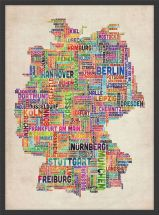 Medium Text Art Map of Germany (Wood Frame - Black)