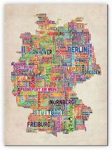 Huge Text Art Map of Germany (Canvas)
